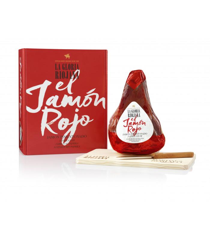 Paprika Riojano Schinken La Gloria Riojana 1 kg Geschenkkarton, Messer und Holzbrett