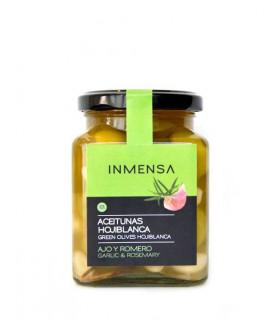 Hojiblanca Oliven mit Knoblauch und Rosmarin Inmensa